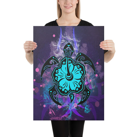 Turtle Hibiscus Galaxy Violet Canvas - AH - J1 - Alohawaii