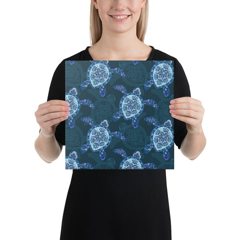 Turtle Plumeria Blue Canvas - AH - J1 - Alohawaii