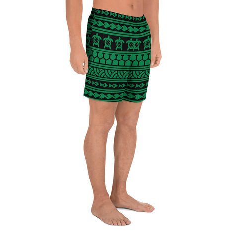 Polynesian Tattoo tribal Green Men's Athletic Long Shorts - AH - J1 - Alohawaii