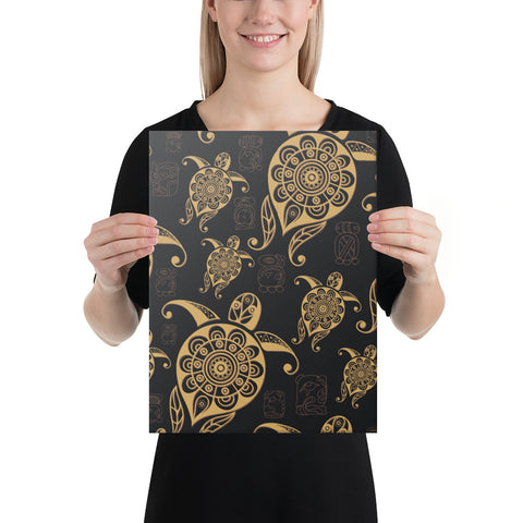 Turtle Pattern Golden Canvas - AH - J1 - Alohawaii