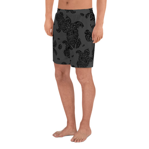 Polynesian Turtle Palm And Sea Pebbles Gray Men's Athletic Long Shorts - AH - J1 - Alohawaii