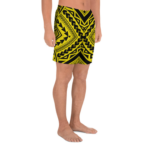Image of Polynesian Tradition Yellow Men's Athletic Long Shorts - AH - J1 - Alohawaii