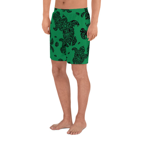 Polynesian Turtle Palm And Sea Pebbles Green Men's Athletic Long Shorts - AH - J1 - Alohawaii