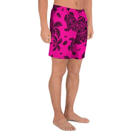 Image of Polynesian Turtle Palm And Sea Pebbles Pink Men's Athletic Long Shorts - AH - J1 - Alohawaii