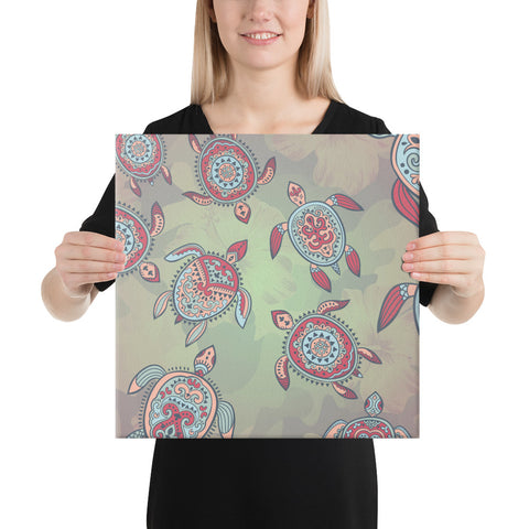 Turtle Colorful Hibiscus Backgorund Canvas - AH - J1 - Alohawaii