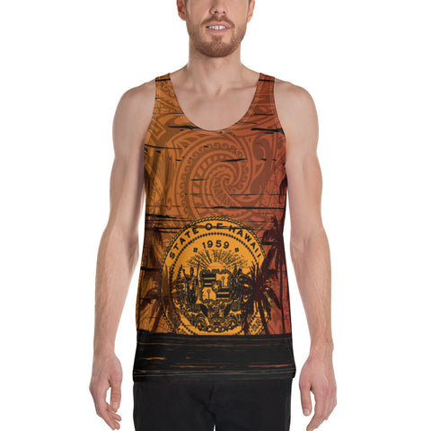 Hawaii Sunset Coat Of arm Polynesian Unisex Tank Top