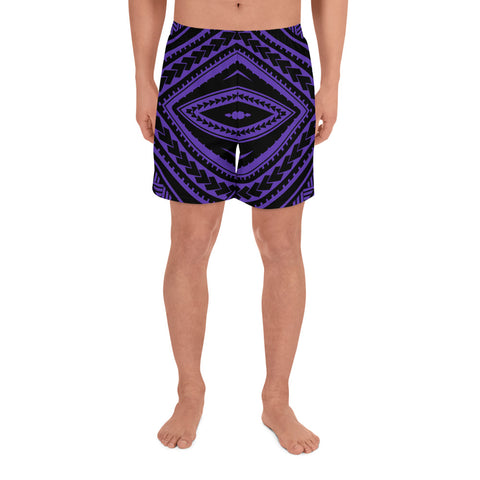 Image of Polynesian Tatau Violet Men's Athletic Long Shorts - AH - J1 - Alohawaii
