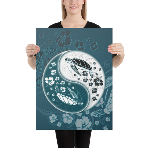 Yinyang Turtle Hibiscus Canvas - AH - J1 - Alohawaii