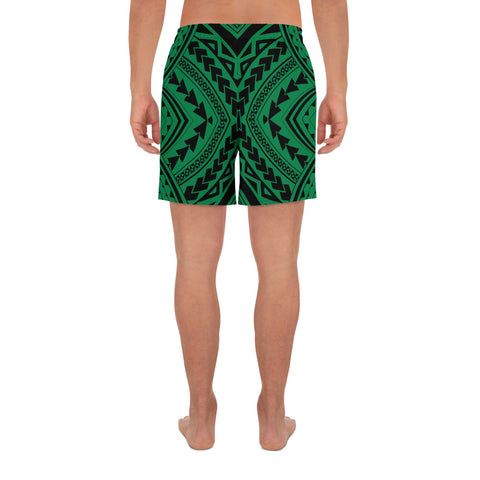 Polynesian Tradition Green Men's Athletic Long Shorts - AH - J1 - Alohawaii