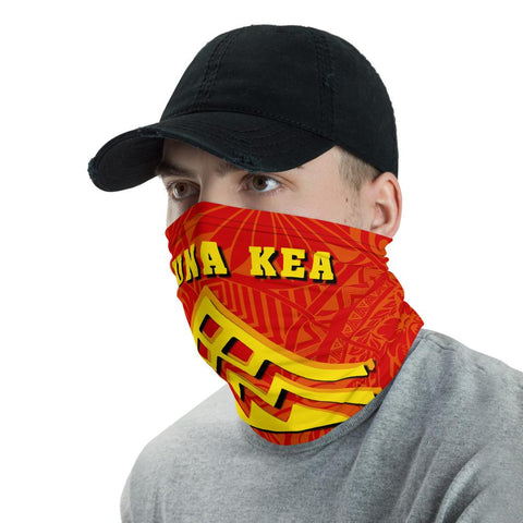 Image of Hawaiian Bandana Mauna Kea Tropical Flowers Polynesian Neck Gaiter - AH - Red - J5 - Alohawaii