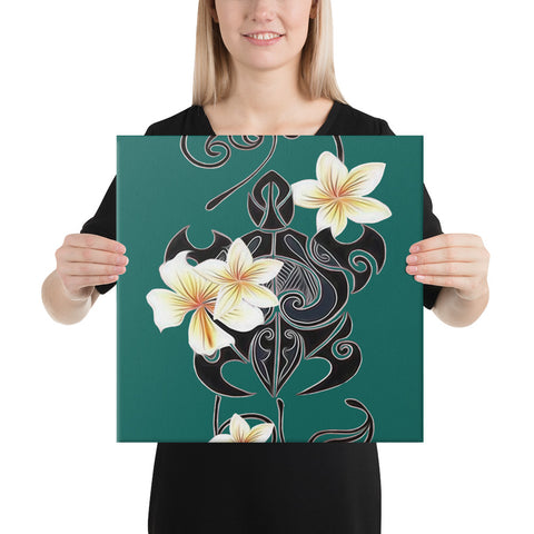 Image of Turtle Poly Trinal Plumeria Turquoise Canvas - AH - J1 - Alohawaii