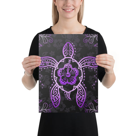 Turtle Hibiscus Violet Canvas - AH - J1 - Alohawaii