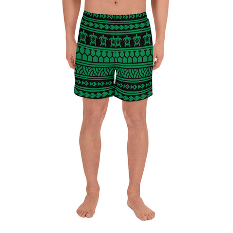 Image of Polynesian Tattoo tribal Green Men's Athletic Long Shorts - AH - J1 - Alohawaii