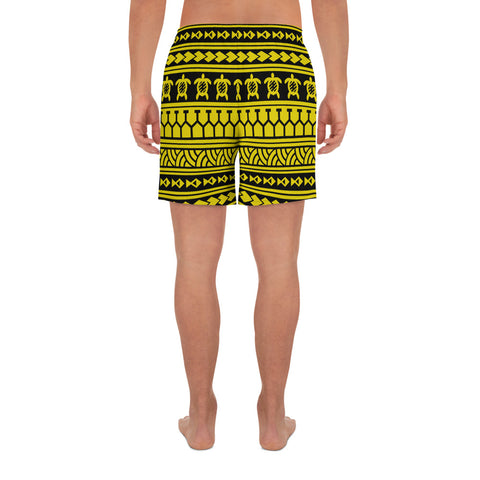 Polynesian Tattoo Tribal Yellow Men's Athletic Long Shorts - AH - J1 - Alohawaii