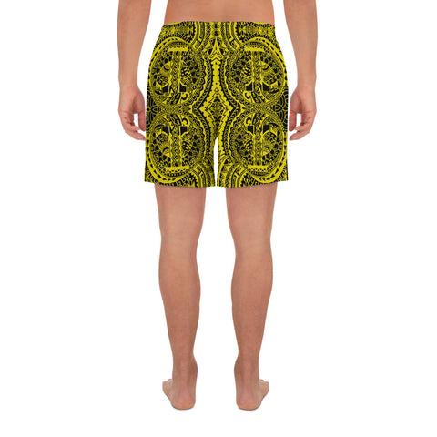 Image of Polynesian Symmetry Yellow Men's Athletic Long Shorts - AH - J1