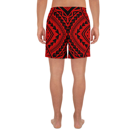 Polynesian Tradition Red Men's Athletic Long Shorts - AH - J1 - Alohawaii