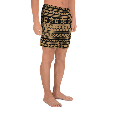 Image of Polynesian Tattoo Tribal Gold Men's Athletic Long Shorts - AH - J1 - Alohawaii