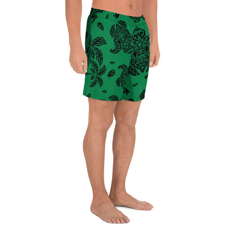 Image of Polynesian Turtle Palm And Sea Pebbles Green Men's Athletic Long Shorts - AH - J1 - Alohawaii
