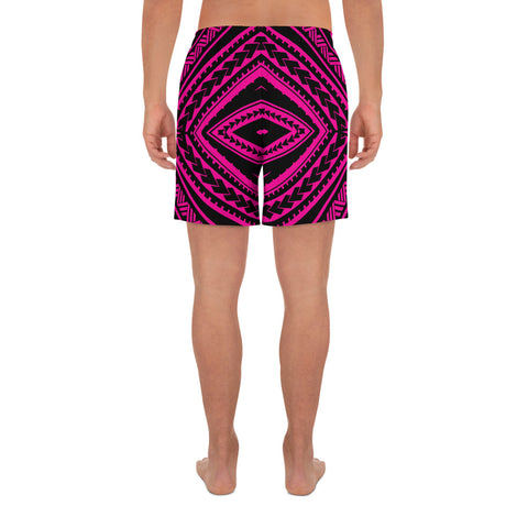 Polynesian Tatau Pink Men's Athletic Long Shorts - AH - J1 - Alohawaii