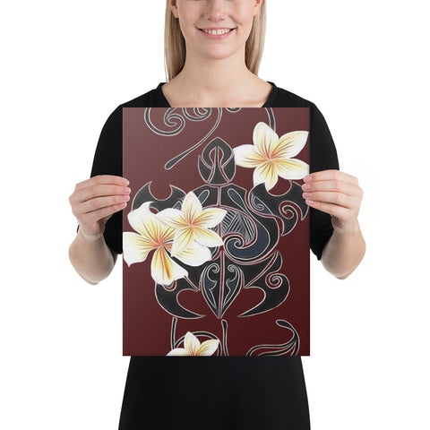 Turtle Polynesian Trinal Plumeria Red Canvas - AH - J1 - Alohawaii