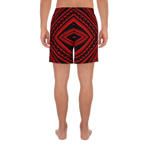 Polynesian Tatau Red Men's Athletic Long Shorts - AH - J1 - Alohawaii