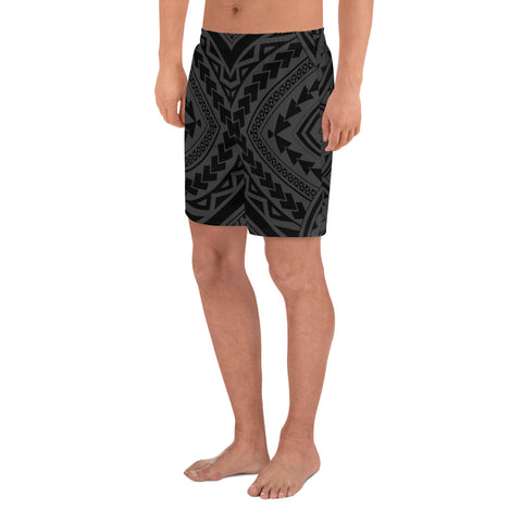 Polynesian Tradition Gray Men's Athletic Long Shorts - AH - J1 - Alohawaii