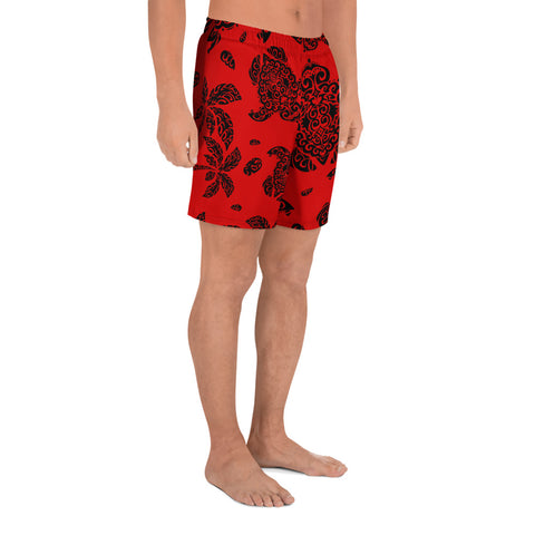 Image of Polynesian Turtle Palm And Sea Pebbles Red Men's Athletic Long Shorts - AH - J1 - Alohawaii