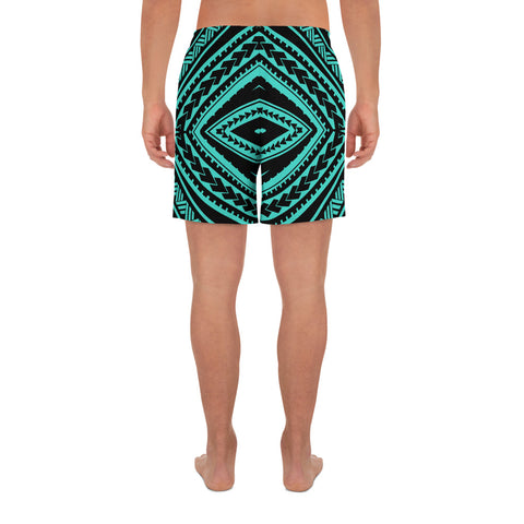 Image of Polynesian Tatau Turquoise Men's Athletic Long Shorts - AH - J1 - Alohawaii