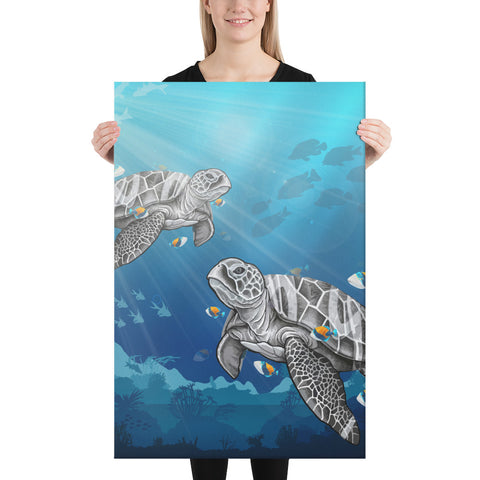 Turtle And Humuhumunukunukuapua'a Canvas - AH - J1 - Alohawaii