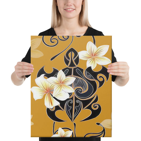 Turtle Poly Tribal Plumeria Yellow Canvas - AH - J1 - Alohawaii
