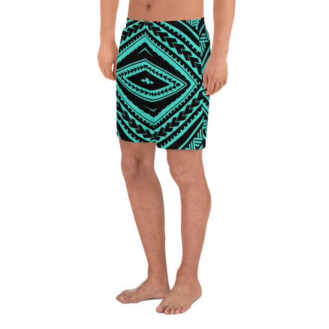 Polynesian Tatau Turquoise Men's Athletic Long Shorts - AH - J1 - Alohawaii