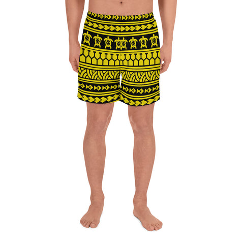 Image of Polynesian Tattoo Tribal Yellow Men's Athletic Long Shorts - AH - J1 - Alohawaii