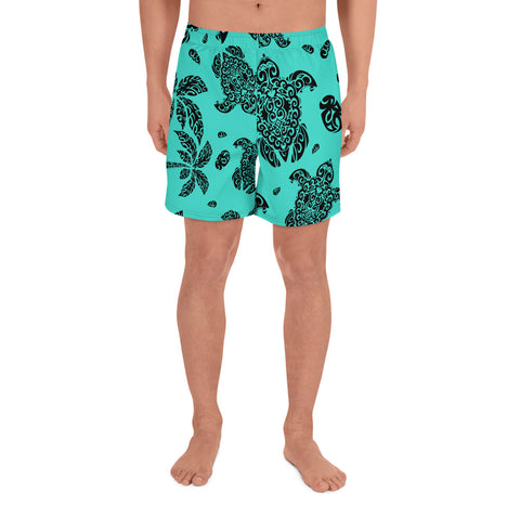 Image of Polynesian Turtle Palm And Sea Pebbles Turquoise Men's Athletic Long Shorts - AH - J1 - Alohawaii