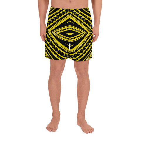Polynesian Tatau Yellow Men's Athletic Long Shorts - AH - J1 - Alohawaii