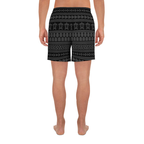Image of Polynesian Tattoo Tribal Gray Men's Athletic Long Shorts - AH - J1 - Alohawaii