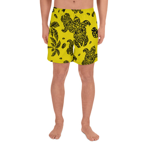 Image of Polynesian Turtle Palm And Sea Pebbles Yellow Men's Athletic Long Shorts - AH - J1 - Alohawaii