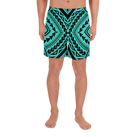 Image of Polynesian Tradition Turquoise Men's Athletic Long Shorts - AH - J1 - Alohawaii
