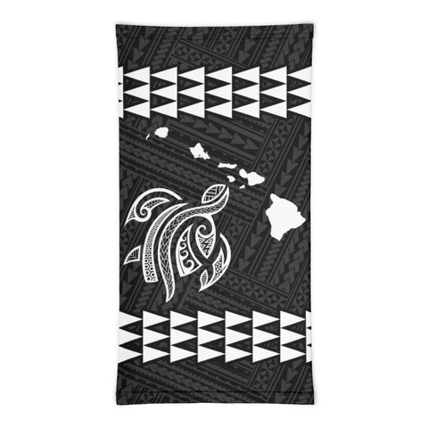 Hawaii Bandana Kakau Polynesian Turtle Map Neck Gaiter - White - AH - J6 - Alohawaii