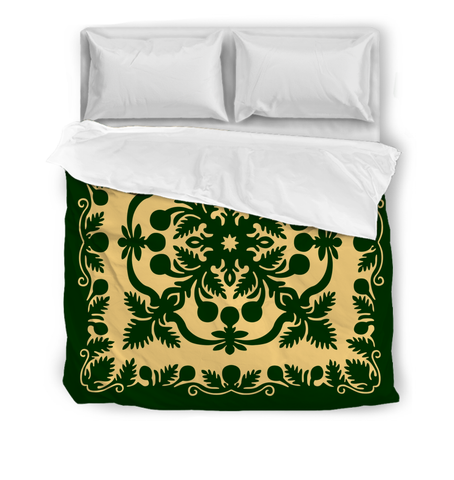 Hawaiian Comforter Royal Pattern - Emerald Green - AH - J6