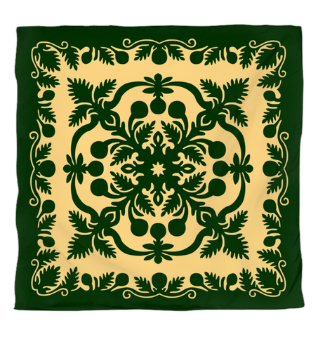Hawaiian Duvet Cover Royal Pattern - Emerald Green - AH - J6