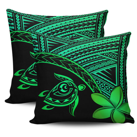 Image of Alohawaii Pillow Cases - Hawaii Turtle Plumeria Green