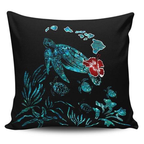 Hawaii Ohana Honu Paua Shell Pillow Covers - AH J9 - Alohawaii