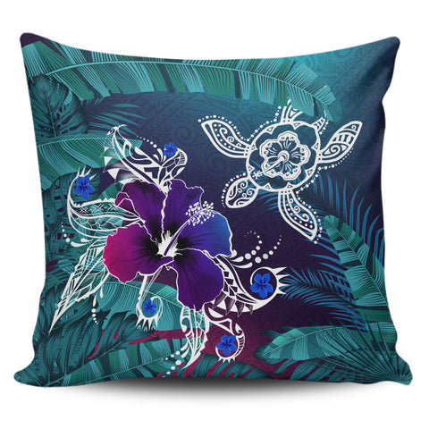 Image of Alohawaii Pillow Covers - Hawaii Turtle Flowers And Palms Retro