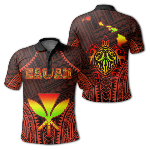Hawaiian Kanaka Turtle Polynesian Polo Shirt - Orange - Stronge Style - AH - J2