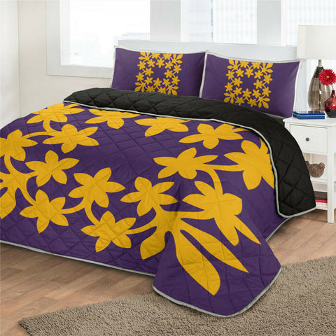 Hawaiian Royal Pattern Quilt Bed Set - Purple And Gold - L3 Style - AH - J2