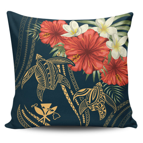 Hawaii Polynesian Turtle Hibiscus Pillow Cover - Nolan Style