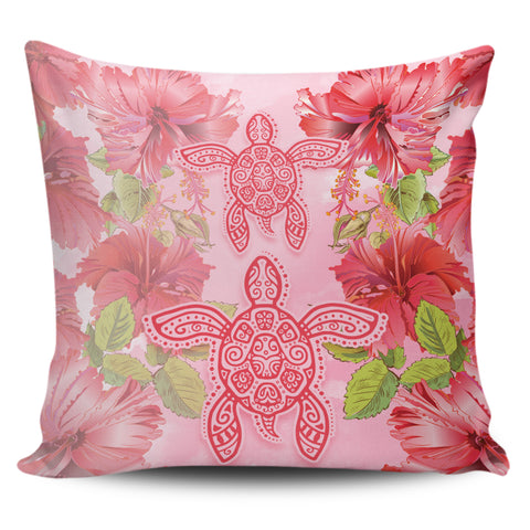 Hawaii Turtle Hibiscus Pillow Cover