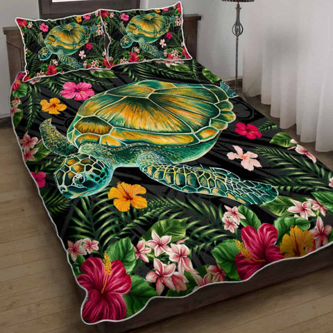 Aloha Turtle Hibiscus Tropical Polynesian Quilt Bed Set - Yam - AH - J2
