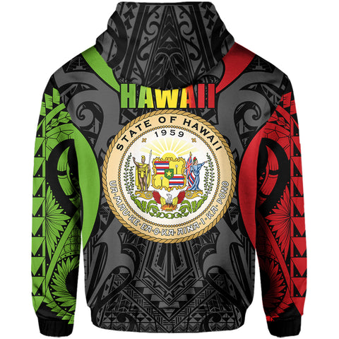 Hawaii Polynesian Tribal Coat Of Arms Zipper Hoodie - AH - Reggae - Mark Style - J5 - Alohawaii