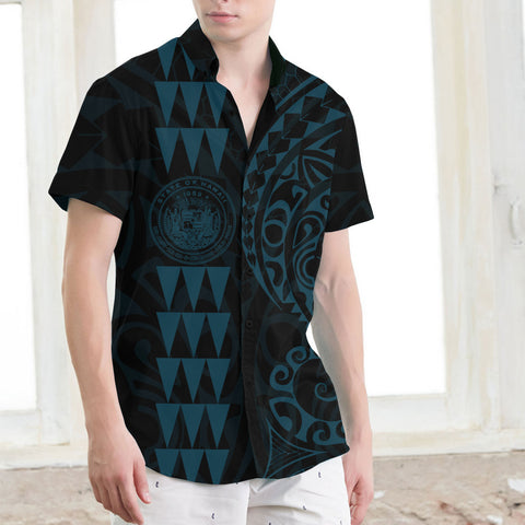 Image of Hawaii Coat Of Arms Short Sleeve Shirt Blue - AH J4 - Alohawaii
